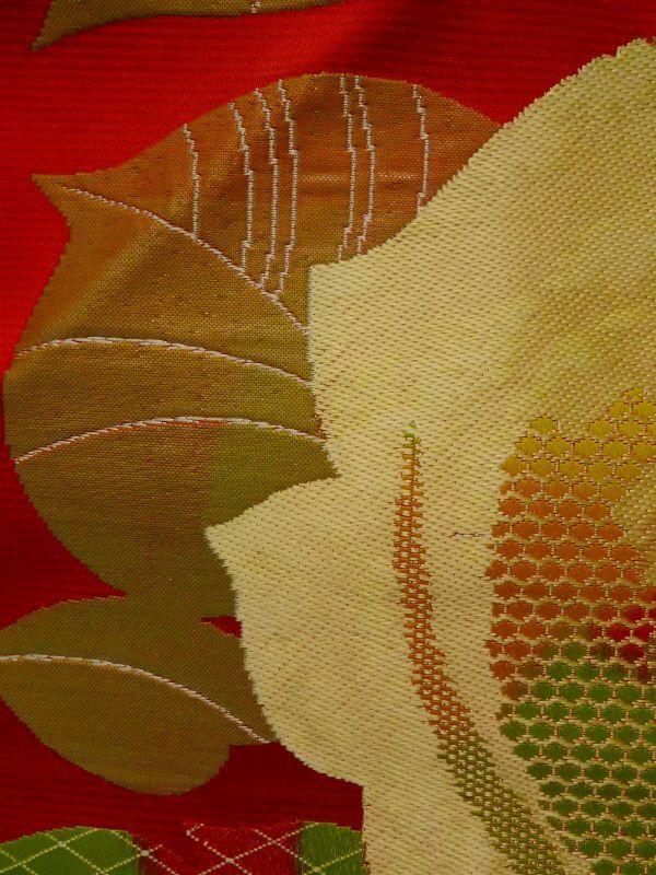 K0310O Vintage Japanese Kimono   Red NAGOYA OBI sash Flower Silk.