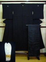 Photo: A124A-XP Vintage Japanese Black Silk KIMONO/OBI assorted set w/White TABI socks