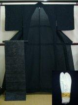 Photo: A124D-XP Vintage Japanese Black Silk Summer KIMONO/OBI assorted set w/White TABI