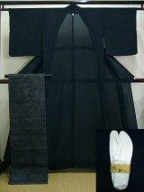 Photo: A124D-XR Vintage Japanese Black Silk Summer KIMONO/OBI assorted set w/White TABI