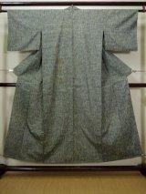 Photo: F0509E Vintage Japanese Kimono Light Greenish Gray HITOE unlined Stripes Silk. (Grade D)