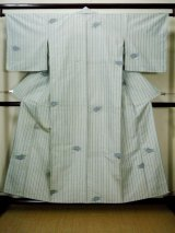 Photo: F1026S Used Japanese Kimono Pale Bluish Off White HITOE unlined by Silk. Stripes  (Grade C)