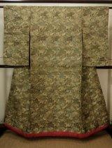 Photo: Mint G0113B Used Japanese Kimono Smoky Light Olive UCHIKAKE Wedding by Silk. Phoenix  (Grade A)