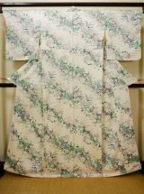 Photo: Mint G0608Y Used Japanese Kimono  Shiny Off White KOMON dyed by Silk. Lily  (Grade A+)