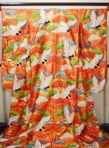 Photo: G0805I Used Japanese Kimono  Shiny Vermilion UCHIKAKE Wedding by Silk. Crane  (Grade A)