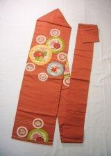 Photo: H0901T Vintage Japanese Kimono  Smoky Orange NAGOYA OBI sash Chrysanthemum Silk. (Grade C)
