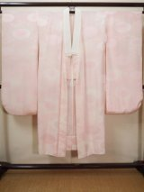 Photo: H1117A Used Japanese  Light Pink JUBAN undergarment / Silk. Chrysanthemum   (Grade A)