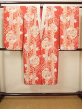 Photo: H1117B Used Japanese   Vermilion JUBAN undergarment / Silk. Chrysanthemum  (Grade A)