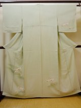 Photo: I0207T Used Japanese Creamy Pale Olive TOMESODE formal / Silk. Tree  (Grade B)