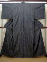 Photo: I0713F Used Japanese Kimono  Smoky Black OSHIMA TSUMUGI pongee / Silk. Geometrical pattern, YOKOSO, Tailor SEIBU (Grade B)