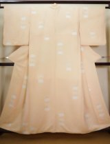 Photo: I1116A Used Japanese  Pale Orange KOMON dyed / Silk. Folding fan   (Grade B)