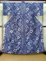 Photo: J0710B Used Japanese   Indigo Blue YUKATA summer / Cotton. Flower, Arimatsu Shibori (Grade B)