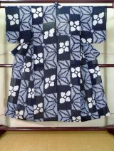 Photo: J0710F Used Japanese   Indigo Blue YUKATA summer / Cotton. Flower, Arimatsu Shibori (Grade B)