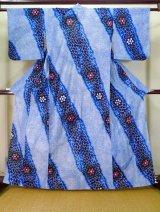 Photo: J0710O Used Japanese   Indigo Blue YUKATA summer / Cotton. Flower, Arimatsu Shibori (Grade A)