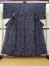 Photo: J0710P Used Japanese  Dark Indigo Blue YUKATA summer / Cotton. Dot, Arimatsu Shibori (Grade C)