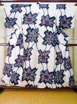 Photo: J0710R Used Japanese   Indigo Blue YUKATA summer / Cotton. Abstract pattern, Arimatsu Shibori (Grade D)