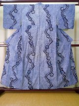Photo: J0710S Used Japanese   Indigo Blue YUKATA summer / Cotton. Flower, Arimatsu Shibori (Grade C)