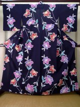 Photo: J0710W Used Japanese  Dark Indigo Blue YUKATA summer / Cotton. Flower  (Grade C)