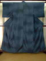Photo: J0722D Used Japanese Grayish  Navy Blue Summer kimono / Silk. Gradation, RO-lining (Grade B)