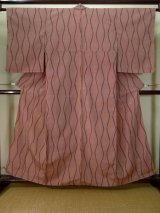 Photo: J1001F Used Japanese Pale  Pink TSUMUGI pongee / Silk. Curved lines   (Grade D)