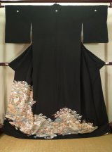 Photo: J1007C Used Japanese   Black TOMESODE formal / Synthetic. Flower,   (Grade B)