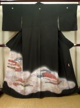 Photo: J1007F Used Japanese   Black TOMESODE formal / Silk. Stream,   (Grade B)