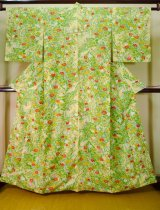 Photo: J1021C Used Japanese Pale Light Yellowish Green KOMON dyed / Synthetic. Flower,   (Grade A)
