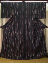 Photo: Mint J1021F Used Japanese   Black KOMON dyed / Synthetic. Abstract pattern,   (Grade A)