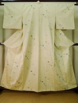 Photo: Mint J1021N Used Japanese Creamy  Off White KOMON dyed / Synthetic. Bamboo leaf,   (Grade A)