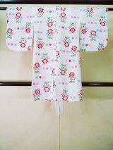 Photo: J1111X Used Japanese   White Kids / Cotton. Flower sunflower pattern  (Grade C)