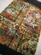 Photo: JET0415J Used Japanese Dark  Multi Color Cutting cloth    (Grade C)