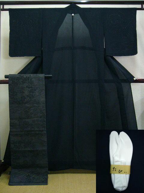 Photo1: A124D-XR Vintage Japanese Black Silk Summer KIMONO/OBI assorted set w/White TABI (1)